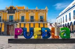 Sign Puebla at the street in Puebla, Mexico. Puebla, Mexico - November 12, 2016: Sign Puebla at the street in Puebla, Mexico stock image