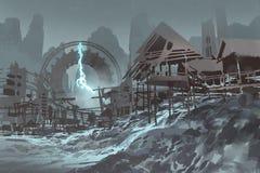 Pueblo abandonado con el reloj gigante en fondo stock de ilustración