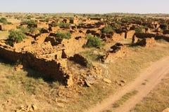 Pueblo abandonado de Khaba Jaisalmer Rajasthán la India Imágenes de archivo libres de regalías