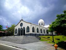 Parque De diversiones, Costa Rica. Pueblo antiguo church.. located in a entertainment park with mechanical and water attractions for children and adults Royalty Free Stock Images