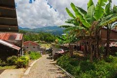 Pueblo asiático en montañas de la selva foto de archivo libre de regalías