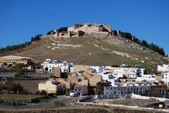 Pueblo Blanco, Estepa, Spanien. Lizenzfreies Stockfoto