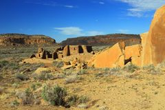 View across Chaco Canyon National Historical Park, New Mexico Royalty Free Stock Photo