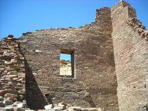 Pueblo Bonito Ruins at Chaco Canyon, Arizona. Walls and a window in the ancient town of Pueblo Bonito remain standing at Chaco Canyon Royalty Free Stock Photography