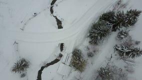 Pueblo cárpato en la nieve de una altura Vuelo bajo sobre un río y los árboles de pino cubiertos por la nieve Opinión del ojo de  almacen de metraje de vídeo