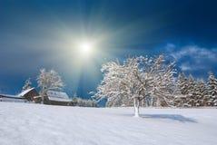 Pueblo cárpato Nevado fotografía de archivo libre de regalías