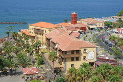 Pueblo Canario, Las Americas, Tenerife, Spain - August 15, 2012. Large, popular commercial center with shops, restaurants and excursion desks, nearby Iglesia de Royalty Free Stock Photo