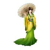 Pueblo chino antiguo de las ilustraciones: Señora hermosa, princesa, belleza con el paraguas stock de ilustración