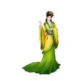 Pueblo chino antiguo de las ilustraciones: Señora hermosa, princesa, belleza con el paraguas ilustración del vector