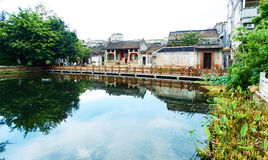 Pueblo chino, paisaje del campo, opinión del país, China Imagen de archivo