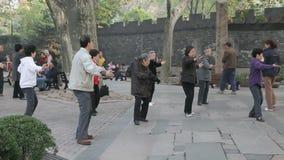 Pueblo chino que practica a Tai Chi almacen de video
