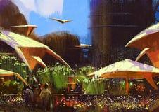Pueblo con los edificios de la fantasía, pintando stock de ilustración