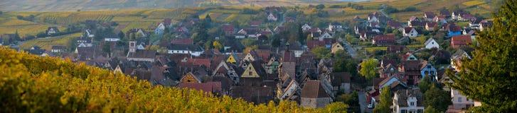 Pueblo de Alsacia, con el viñedo, Riquewhir francia Fotos de archivo libres de regalías