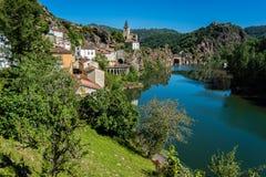 Pueblo de Ambialet, Francia foto de archivo libre de regalías