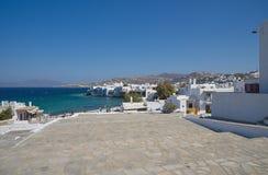 Pueblo de Chora poca isla de Venecia - de Mykonos Cícladas - Mar Egeo - Grecia Fotos de archivo