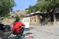 Pueblo de Cuandixia en una pintura fotografía de archivo libre de regalías