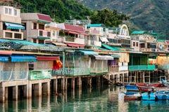 Pueblo de Fisherfolks en la isla de Lamma, Hong Kong fotos de archivo