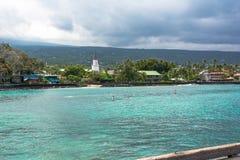 Pueblo de Kailua Kona en la isla grande, Hawaii Fotos de archivo