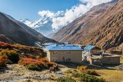 Pueblo de la mucha altitud de los yacs Kharka Imágenes de archivo libres de regalías