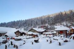 Pueblo de la nieve foto de archivo