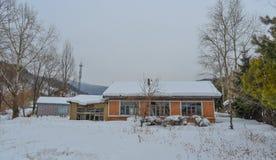 Pueblo de la nieve en el condado de Mohe, China imagen de archivo libre de regalías