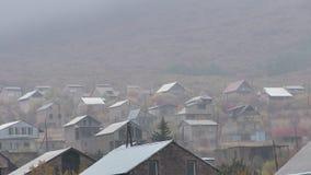 Pueblo de la provincia de Armenia, Aragatsotn con la rana sobre la montaña imagen de archivo