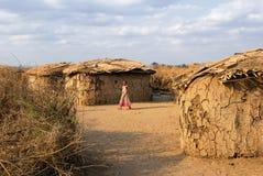 Pueblo de la tribu del Masai Imagen de archivo libre de regalías