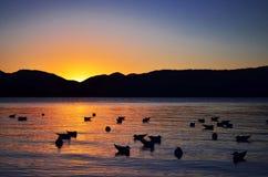 Pueblo de Lige del lago Lugu Fotografía de archivo