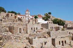 Pueblo de Mikro Chorio, Tilos Foto de archivo libre de regalías