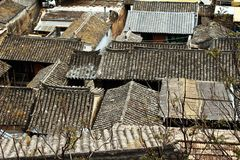 Pueblo de montaña del chino tradicional Imágenes de archivo libres de regalías