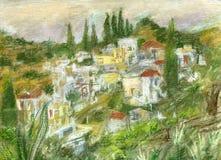 Pueblo de montaña griego ilustración del vector