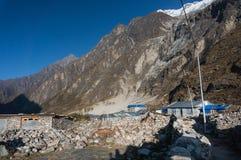Pueblo de nuevo Langtang después del terremoto de 2015 imagen de archivo libre de regalías