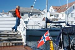 Pueblo de Skudeneshavn en Noruega Fotografía de archivo