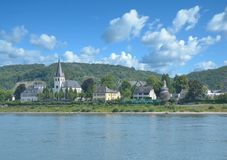 Pueblo de Unkel, el río Rhine, Renania-Palatinado, Alemania imágenes de archivo libres de regalías