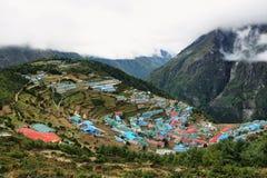 Pueblo del bazar de Namche, Nepal Himalaya Fotos de archivo libres de regalías