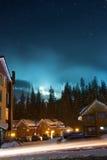 Pueblo del esquí en la noche Fotografía de archivo libre de regalías