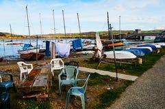Pueblo del puerto del barco del pescador imágenes de archivo libres de regalías