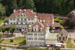 Pueblo del turismo cerca del castillo de Neuschwanstein fotografía de archivo