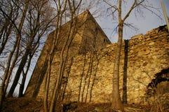 Pueblo ducal de la torre - Stara Lomnica, otoño, Polonia imágenes de archivo libres de regalías