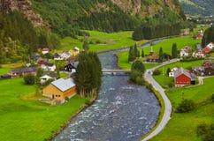 Pueblo en Flam - Noruega Foto de archivo