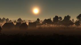 Pueblo en la frontera del bosque Imágenes de archivo libres de regalías