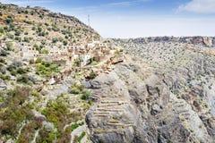 Pueblo en la meseta de Saiq Foto de archivo libre de regalías