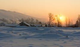 Pueblo en la nieve Fotografía de archivo libre de regalías