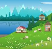 Pueblo en las montañas alpinas Imagenes de archivo