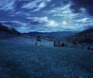 Pueblo en prado de la ladera en la noche imagenes de archivo