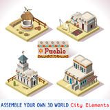 Pueblo-Fliesen 02 gesetzte isometrische Lizenzfreie Stockbilder
