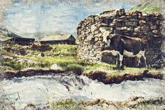 Pueblo hermoso de Truso cerca de la ciudad de Kazbegi en las montañas o ilustración del vector