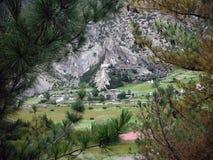 Pueblo Himalayan viejo como a través vistos árboles de pino Imágenes de archivo libres de regalías