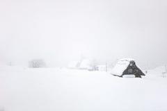 Pueblo japonés en el invierno Foto de archivo libre de regalías