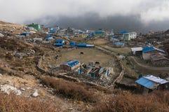 Pueblo Kyangjin Gompa nepal Visi?n desde Kyangjin Ri fotografía de archivo